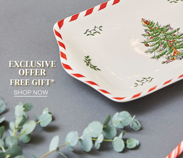 Our gift to you. Receive a festive ceramic tray when you spend £50 or more on Spode Christmas Tree. Will auto add to your basket.